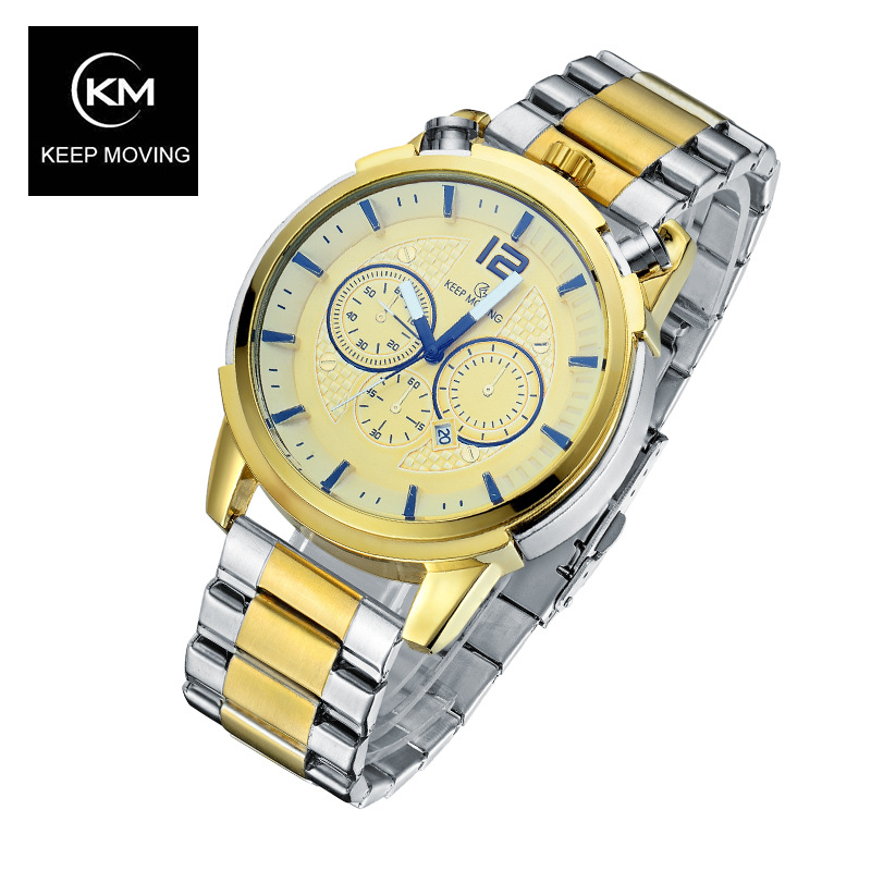 KEEP MOVING  watch day calendar Stainless Steel Sport waterproof Watches for Men Fashion Quartz Wristwatches Relogio Masculino<br><br>Aliexpress
