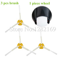3x Brush + 1 Assembly Front Castor wheel Replacment for irobot roomba Vacuum Cleaner 500 600 700 800 series 560 620 650 770 780