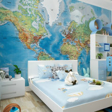 HD World Map Photo Mural Wallpaper Study Kid's Room Living Room Decor Wallpaper Modern Design Non-Woven Wall Papers Papel Tapiz(China)