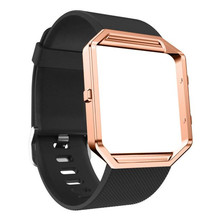 New High Quality Fashion Soft Silicone Watch Band Wrist strap + Metal Frame For Fitbit Blaze Watch Free shipping