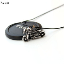 hzew Male Gothic Punk Skeleton Motorcycle  leather chain Pendant Necklace gift for friends