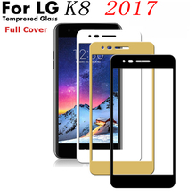 Colorful cover Glass Film For LG K8 K350N full Cover Tempered Glass Film for LG K8 K8 2017 Screen Protector Cover Case(China)