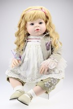 "blond hair silicone vinyl doll reborn babies  gift clothing model 28"" 70CM Large size fashion girl doll reborn Curly"