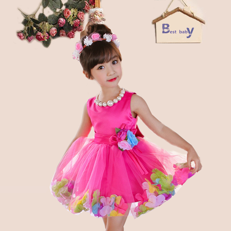2016 New Brand Girl Dress Summer 3-8 Years Floral Baby Girls Dress Vestidos 6 Colors Wedding Party Baby Clothes Free Shipping<br><br>Aliexpress