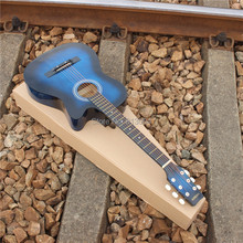 38 inches ballad acoustic guitar turn blue Basswood guitar length 96 cm For beginners to use