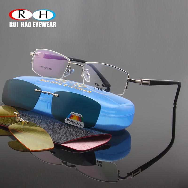 524b157637 Half Rimless Eyeglasses Frames Men Optical Glasses Frame Magnetic Polarized  Sunglasses Clip on Yellow Night Vision