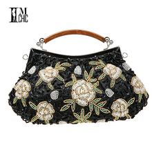 Hot Embroidery Flower Beaded Women 2016 Bridal Evening Clutch Bag Wedding Bridal Clutches Bag Handmade Tote Women Bag(China)