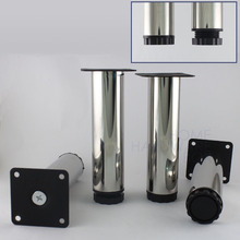 "4 pcs furniture cabinet metal legs 6"" table feet round stainless steel polished"