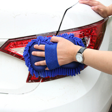 Microfiber Chenille Car Washing Gloves, Auto Car Wash Sponge Cleaning Brush Pad with Elastic Band Supporting Hand(China)