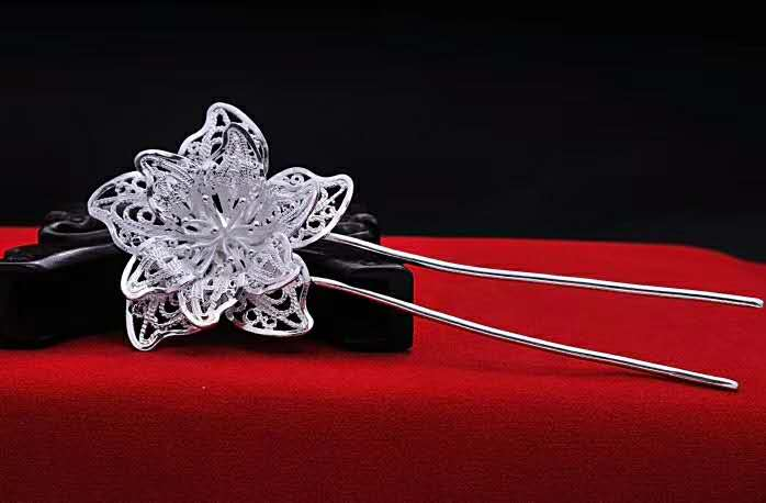 S990 990 silver flower hairpin hollow out