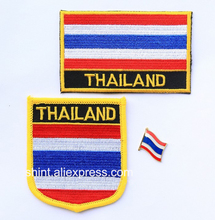 Thailand Embroidery Patches Set of 3PCS one flag patch one badge patch one lapel pin(China)