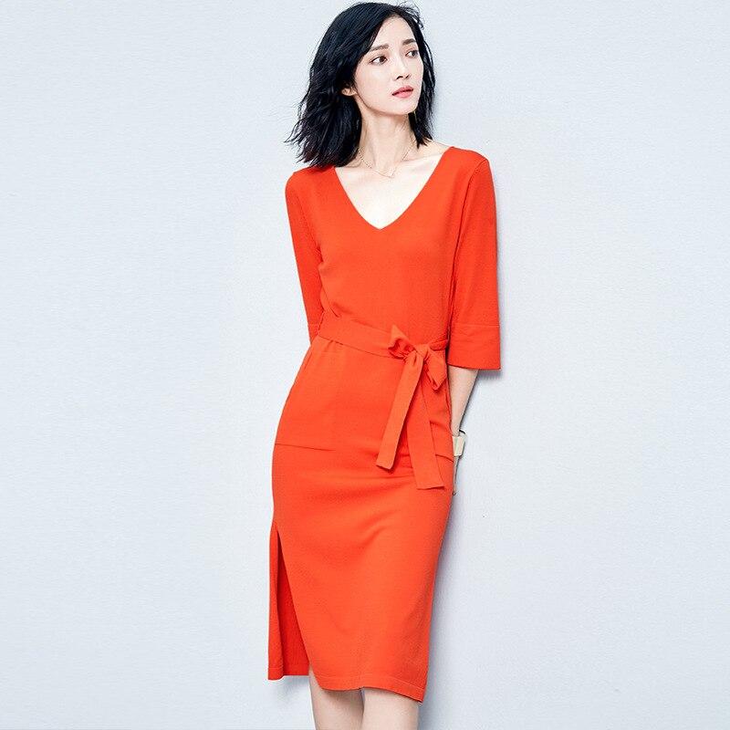 European style pure color knitted dress women V neck short sleeve elastic waist fashion sexy slit on hem dresses with sashes 095Îäåæäà è àêñåññóàðû<br><br>
