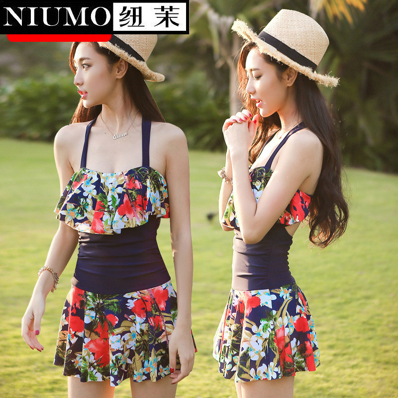 NIUMO New One-piece Swimwear maiden  Hot spring swimming Floral  bouncy Swimming suit<br>
