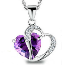 1PC Fashion Class Women Girl Lady Double Heart Crystal Pendants Necklace Statement Nice Jewelry Purple/Clear/Black/Pink/Red/Blue