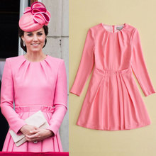 Buy ShowMi Princess Kate Middleton Dress 2017 Autumn Woman Dress O-neck Long Sleeve A-Line Pink Elegant Dresses Work Wear Clothes for $72.00 in AliExpress store