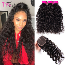 Tinashe Hair Water Wave Bundles With Closure Brazilian Hair Weave Bundles With Closure Remy Human Hair Bundles With Closure(China)