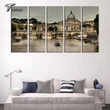 Large Wall Pictures Rome Italy Landscape Decorative Painting St Peter's Cathedral Canvas Art Print Gray Drawing 5 Panel No Frame