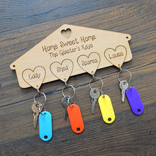 custom Wooden Keyrings Family Room Key Hanger hook for Guesthouse Bed and Breakfast Housemoving Christmas Present Gift favors(China)