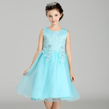 Wholesale Children Girl Dress Princess Christmas Lace Kids Christening Events Party Wear Dresses 12pcs/lot free DHL LW0086(China)