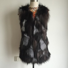 New Low! Real Natural Genuine fox fur vest women's long fox fur vest OEM/Retail/Wholesale custom big size THP397B(China)