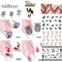 Addfavor 2 Sheets Flower Design Water Transfer Nail Sticker Cute Animal Fingernail Decals Manicure Nail Art DIY Tips(China)