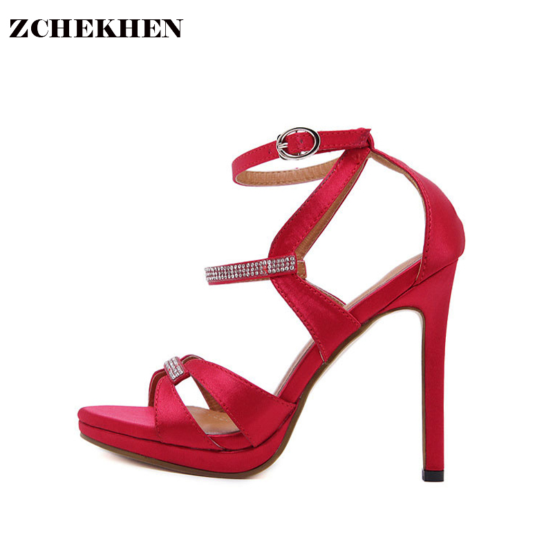 Women High Heel Sandals 2018 Sexy Ladies Red silk bling Summer Shoes women Peep Toe Sandals Party Evening Dress Heels <br>
