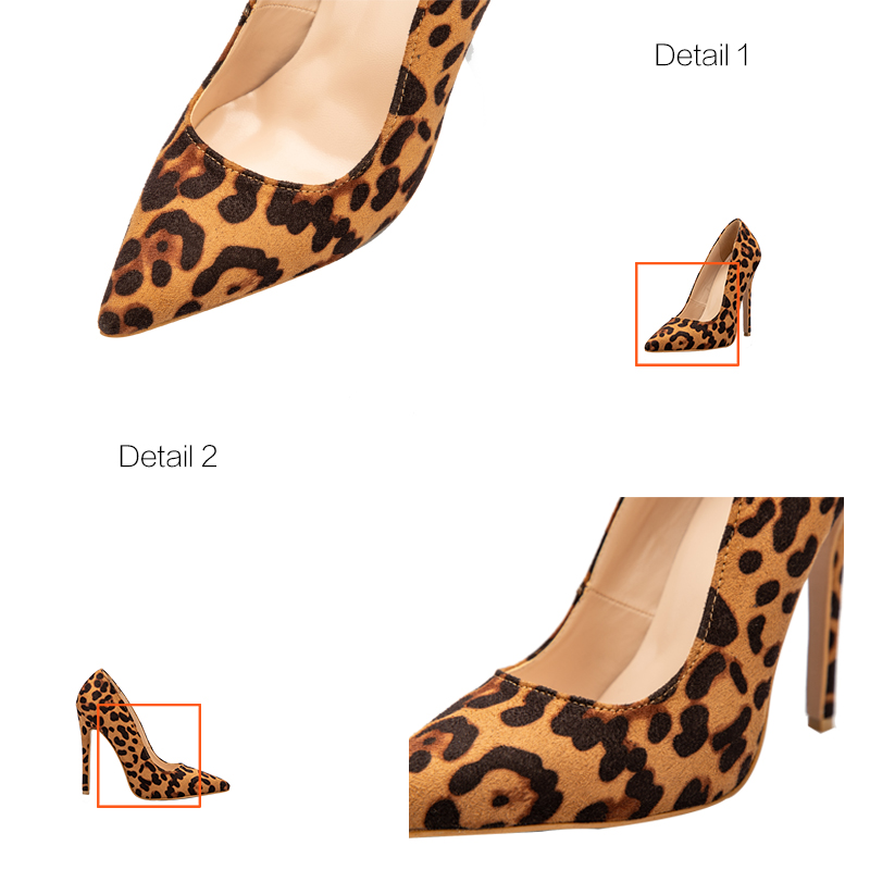 a51220a1f Leopard Casual Heels Women Pumps Shoes Office Lady Pointed Toe Flock Sexy  High Heels 12 cm Wedding Party LALA IKAI Pumps 0616