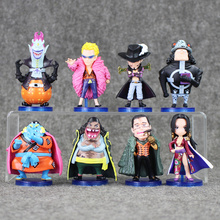 8pcs/lot 2016 Anime One Piece Figure Capitaines Corsaires Mihawk Doflamingo Hancock Sir Crocodile Teach Model Toy for Kids
