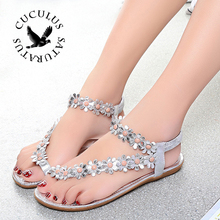 Cuculus 2017 Women Sandals Summer Style Bling Bowtie Fashion Peep Toe Jelly Shoes Sandal Flat Shoes Woman 3 Colors 01F669(China)