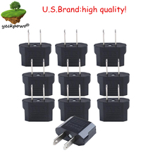 U.S. Brand high quality! 10 pcs EU to US Plug adaptor plug convertor Travel Adapter Power plug Converter Wall Plug