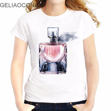 GELIAOCONG 2017 Perfume Lovers 3D Printed Simple Love Women T-shirt Short Sleeve Casual Slim Lady Tops Hipster Funny Mid-night