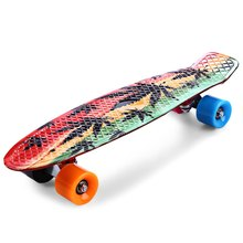 22 Inch 3D Printing Maple Leaf Skateboard Graffiti Mini Longboard Skateboarding 150kg Load Chromium Steel Single Rocker PU Wheel
