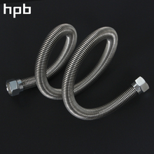 "HPB Water Heater Stainless Steel 304 Corrugated Pipe Flooding Hot And Cold Plumbing Hose 20cm To 80cm 1/2"" Thread HP7108(China)"