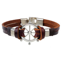 Linnor Trendy Homme Rudder Leather Bracelet Navy Braclet Nautical Pirate Snap Braslet Femme Pulseira Masculina Jewellery(China)