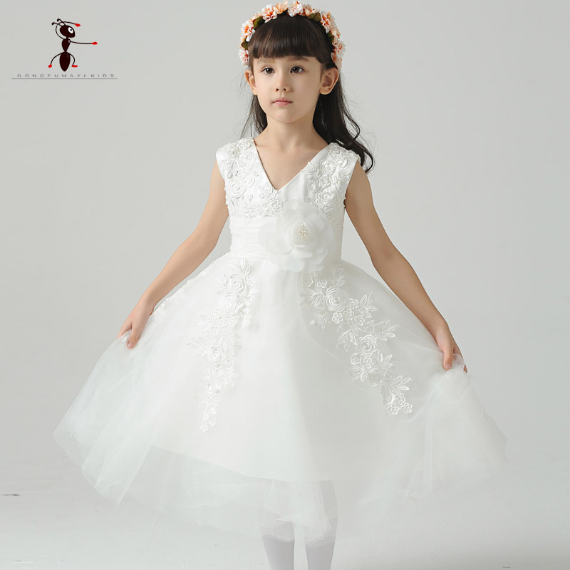 Kung Fu Ant 2017 Sleeveless Mid-Calf Mesh Lace Voile Cotton Little Flower Wedding Girls Dress Summer Princess B0029 <br>