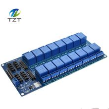 TZT teng 1PCS 5V 16 Channel Relay Module for arduino ARM PIC AVR DSP Electronic Relay Plate Belt optocoupler isolation