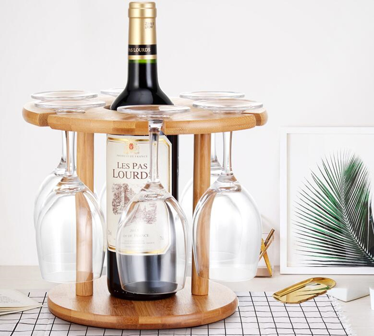 Glass Holder Display Stand Storage Novelty Home Party Decor Wooden Wine Bottle