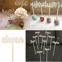 1-12 Wooden Table Numbers Set Freestand Stick Wedding Birthday Party Design Decoration Crafts Events Party Favor Supplies Gadget(China)