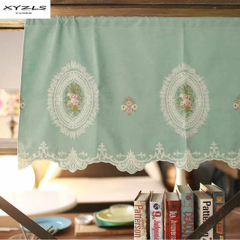 XYZLS Korean Style Half Curtain Floral Short Kitchen Curtains Romantic Short Panel Curtain for Cafe Door Window Blinds 1 Piece
