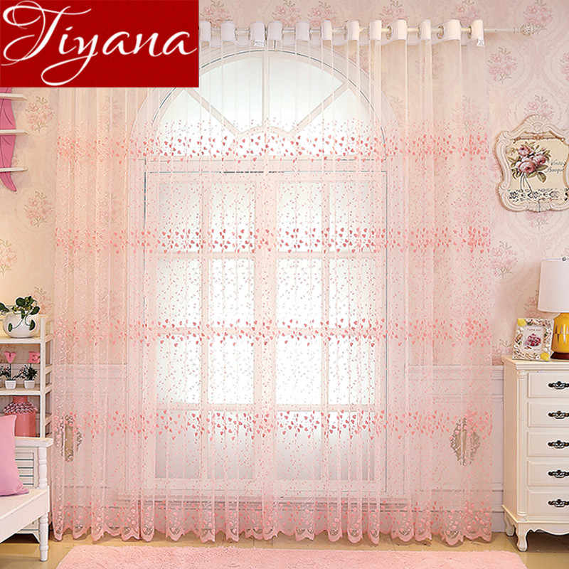 Pink Curtains Embroidery Luxury Flowers Lace Window Modern Living Room Bedroom Curtains Tulle Sheer Fabrics Cortains T&208#30