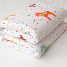 New 100% Cotton Cartoon Animals Baby Quilt Bedding Colorful Kids Children Crib Bedding Detachable White Pink Quilt 130*100cm(China)