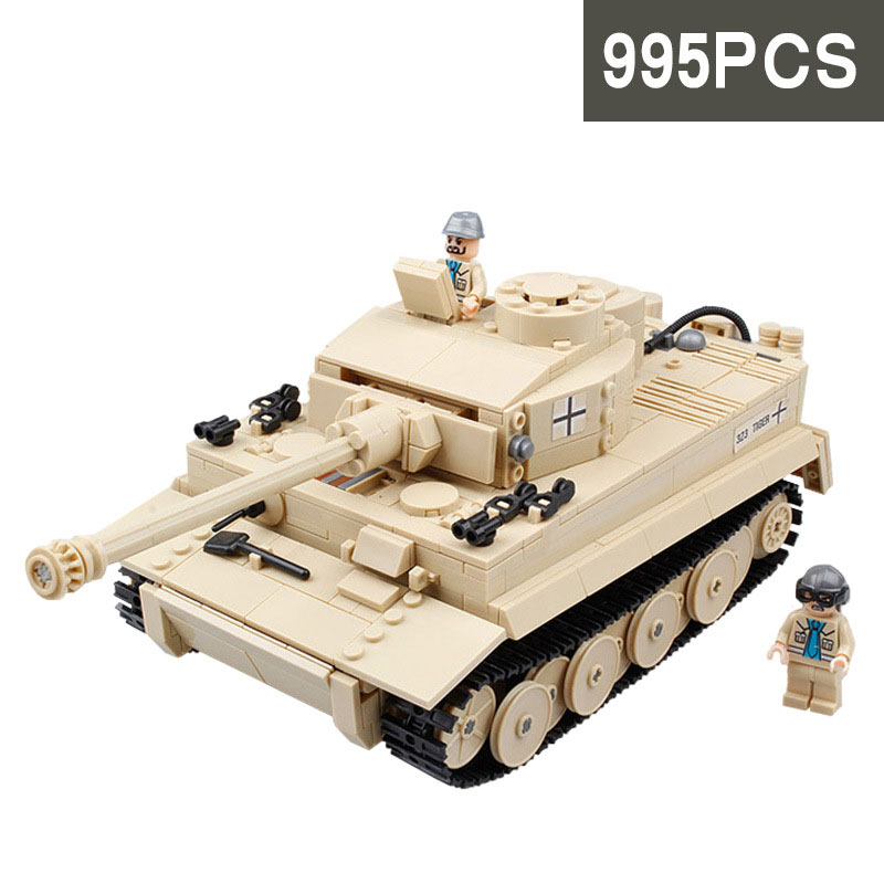 StZhou 995pcs Century Military German King Tiger Tank Cannon Building Blocks Bricks Model Toys educational Toys for children<br>