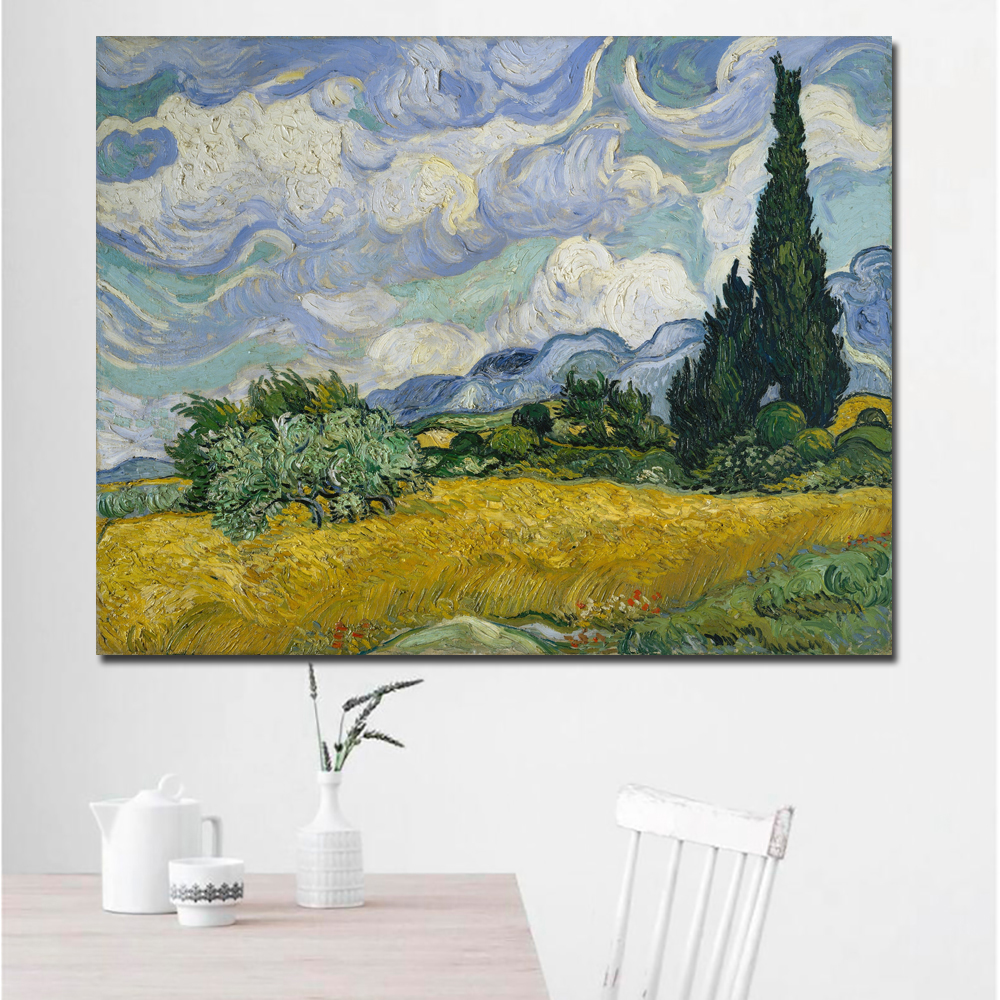 Wheat Field with Cypresses-70x90