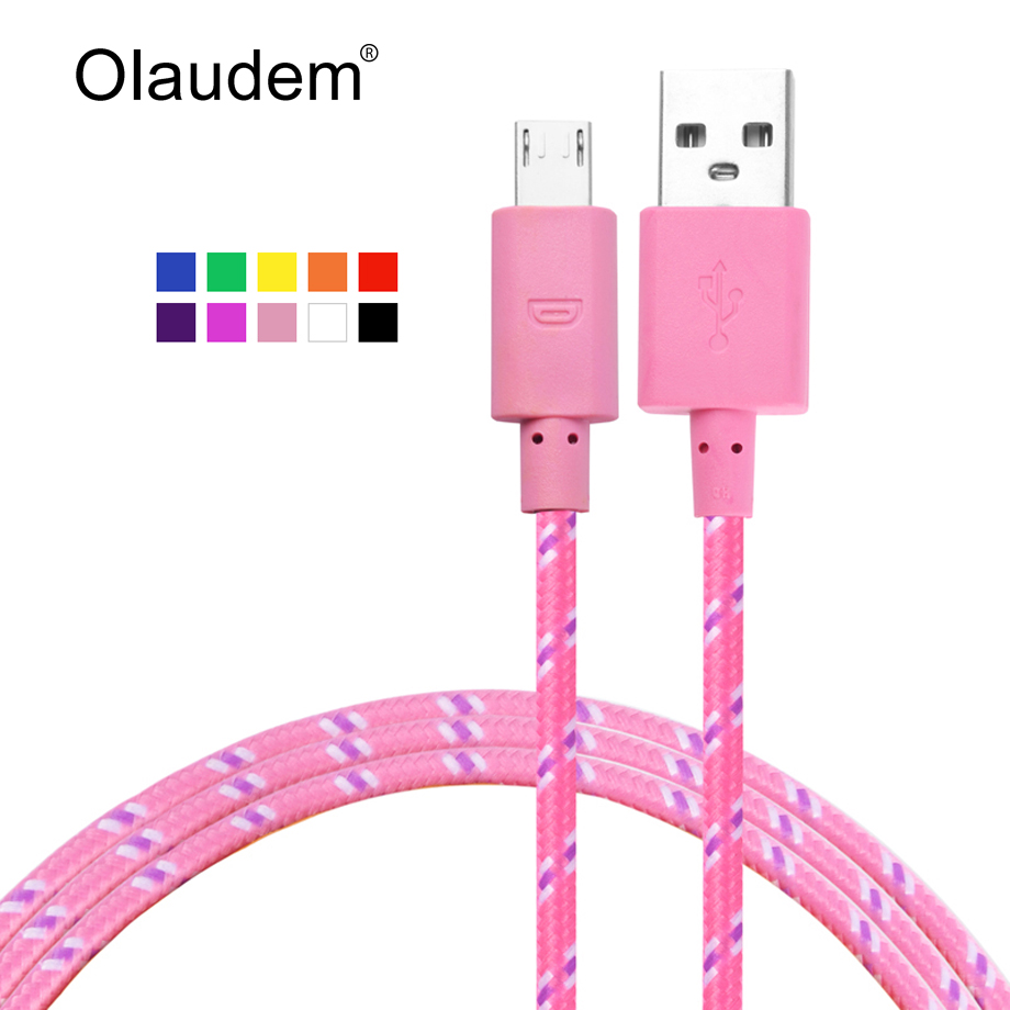 Nylon Braided Charging Sync USB Cable For Android Mobile Phones Samsung LG Sony HTC Nokia Color Weave Data Line USBC288(China)