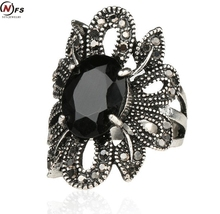 Punk Rock Ring Jewelry Silver Restoring Ancient Ways Black Stones Hollow Out Female Personality Hipster Index Finger Rings(China)
