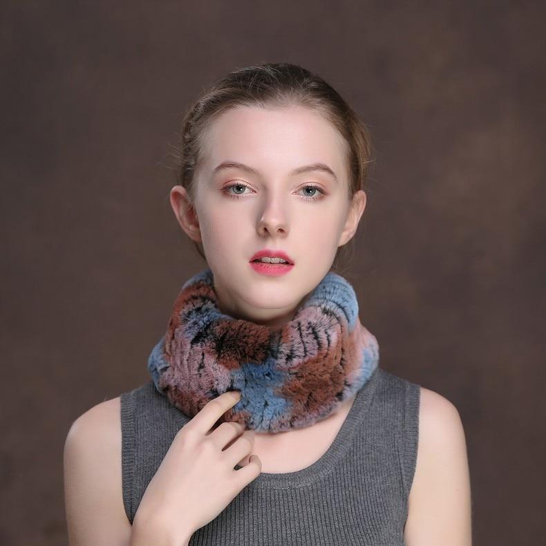 Winter Fur Headbands For Women Knitted Rex Rabbit Fur Scarf Hats Natural Fur Ring hairband Neckwarmer female (4)