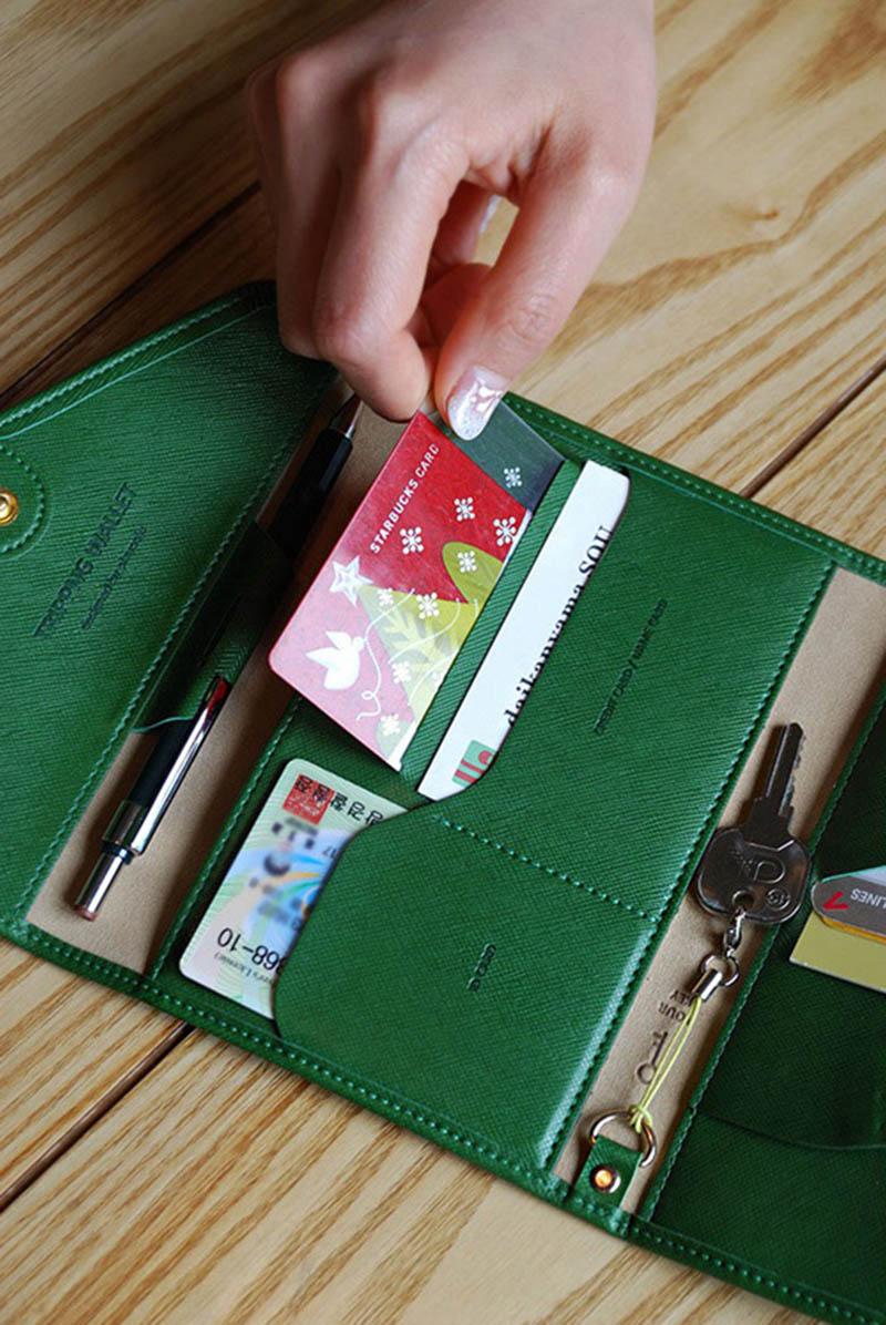 Reispaspoort Cover Opvouwbare Creditcardhouder Geld Portemonnee ID Multifunctionele Documenten Vlucht Bit Licentie Portemonnee Tas PC0045 (6)