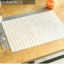 DUNXDECO Table Placemat Knitted PVC Table Plate Cover Pad Hot Insulation Modern Stripe Geometric Home Coffee Shop Store Decor(China)