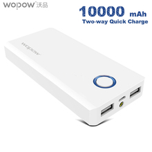 Buy WOPOW Power Bank 10000mAh Large Capacit Powerbank QC3.0 quick charge External Battery Pack Dual USB Charging Port Phones PC for $20.71 in AliExpress store