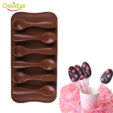 Delidge 1 pc 6 Holes Spoon Shapes Chocolate Molds Silicone Cute Scoop Tableware Fondant Cake Molds Jelly Baking Decoration Mould